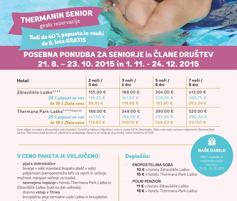 Posebna ponudba za seniorje in člane društva