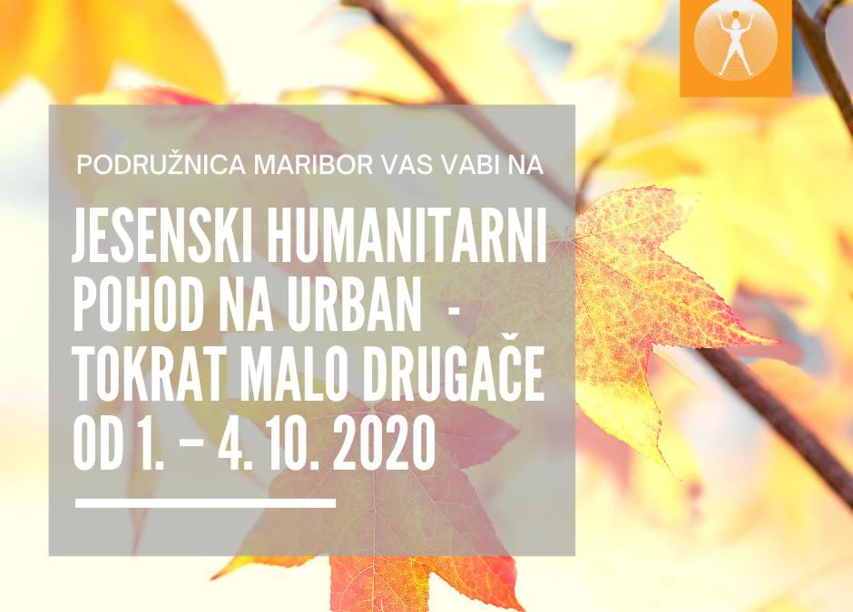 JESENSKI HUMANITRANI POHOD NA URBAN – tokrat malo drugače od 1. – 4. 10.2020